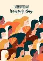 Journée internationale des femmes. Illustration vectorielle avec les femmes de différentes nationalités et cultures.