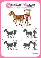 Spel sjabloon met schaduw overeenkomende paard en cowgirl