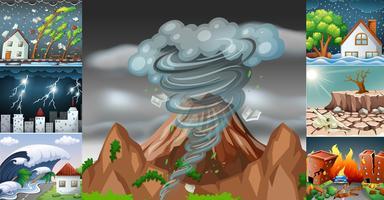 Scener med olika katastrofer