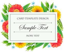 Plantilla de tarjeta con flores de colores vector
