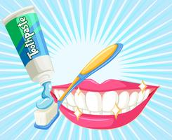 Dental theme with toothbrush and paste