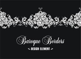 Ornamental border, frame. Baroque pattern. Vector seamless