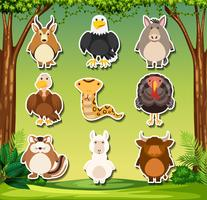 Set of wild animals sticker