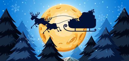 Silhoutte of sleigh night scene