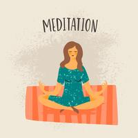 Vector illustration of meditating woman.