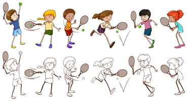 Men and women players for tennis vector