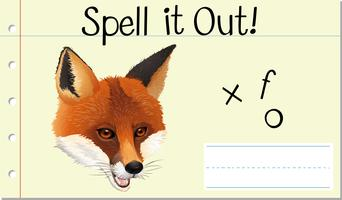 Deletrear la palabra inglesa fox