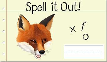 Soletrar palavra inglesa fox