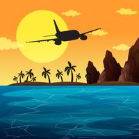Background scene with airplane flying over ocean