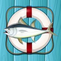 Een tonijn op blauwe mariene sjabloon