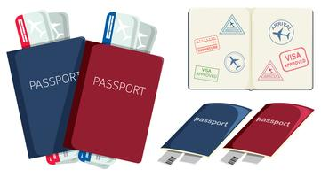 Set of passports and boarding pass