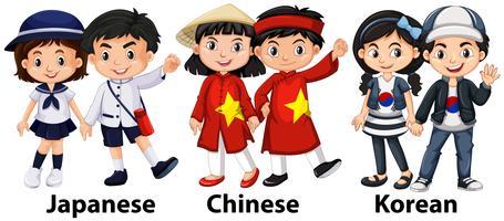 Niños asiáticos de diferentes países.