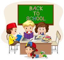 Crianças, fazendo, escola, trabalho, em, sala aula