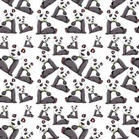 Panda on seamless pattern