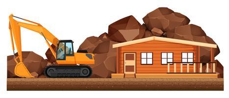 Escavadeira trabalhando no canteiro de obras de casa
