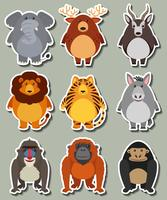 Sticker design with many wild animals