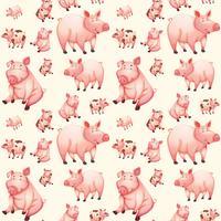 Modèle sans couture de cochon rose
