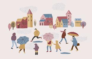 Vector illustration of people in the rain. Autumn mood.