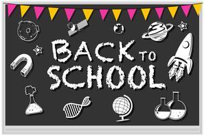 Blackboard met veel school pictogrammen