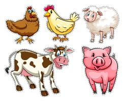 Sticker set with farm animals vector