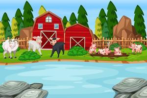 Una escena de animales de granja