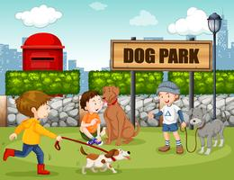Personnes dans un parc à chiens