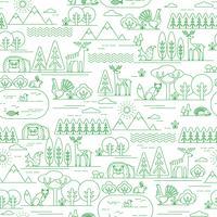 Vektor sömlösa mönster med skogsflora och fauna.