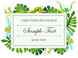 Card template with insects and leaves frame