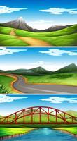 Três cenas com montanhas e trilhas