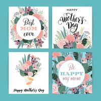 Feliz día de la madre. Plantilla de vector con flores.