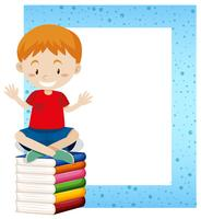 A Boy Sitting on Book Frame