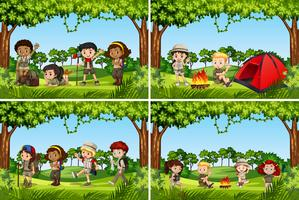 Set of camping kids