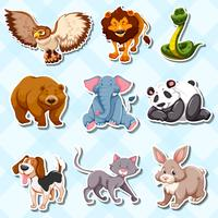Sticker set with lots of wild animals