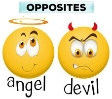 Opposite character for angel and devil
