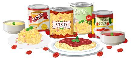 Een set pasta en soep