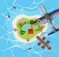 Top view of airplane flying over island