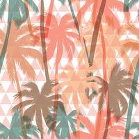 Seamless exotiskt mönster med palm på geometrisk bakgrund.