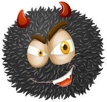 Devil face on fluffy ball
