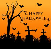 Happy halloween card with graveyard in background