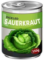 A tine of pickled sauerkraut