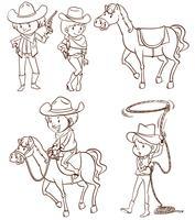 Männliche und weibliche Cowboys