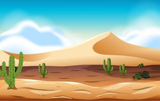 desert with dunes and cactus vector