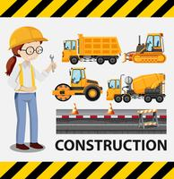 Construction set with female charcter illustration