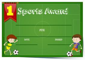Modelo de certificado para prêmio de esportes