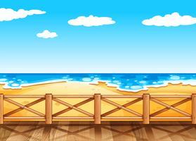 Cena praia, com, ponte madeira