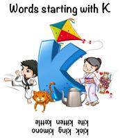 Worksheet design for words starting with K