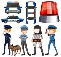 Policeman and police cars