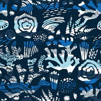 Vector sea seamless pattern with hand drawn textures.