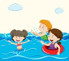 Kids Swimming in the Sea
