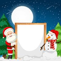 Frame with santa and snowman
